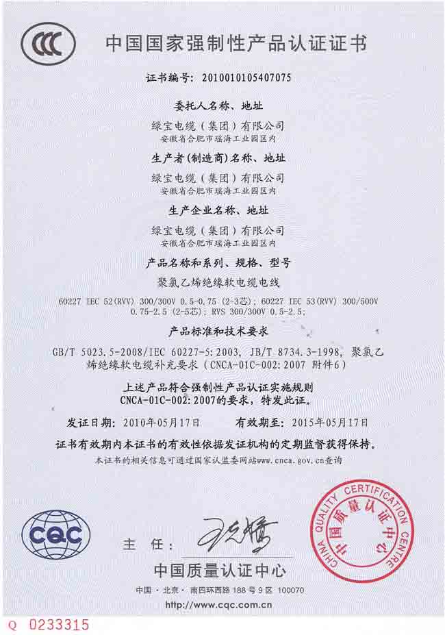 Certificate for China Compulsory Product Certification(CCC) -CHINA ...
